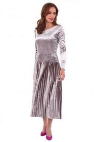 Welurowa sukienka z plisowanym dołem Barbara