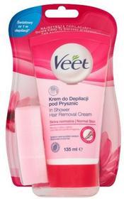 Veet krem do depilacji pod prysznic dla skóry normalnej, 135 ml + gąbka