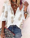 Kwiatowy nadruk z dekoltem w serek bluzki i topy z guzikami w dużych rozmiarach odzież damska 5XL