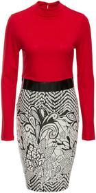 Bonprix Sukienka z wzorzystą częścią spódnicową czerwono-czarno-biały wzorzysty