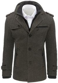 Dstreet Płaszcz męski w jodełkę szary (cx0372) cx0372_m