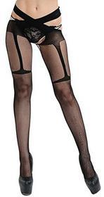 RICHTOER Women Black Fishnet Across Stockings pantyhose The Knee Sheer Tights Thigh High medias -  czarny B075VP188S