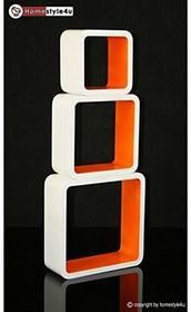 Homestyle4u Cube regał ścienny regał na książki regał wiszący 3-częściowy zestaw retro design biały, pomarańczowy Homestyle4u_794