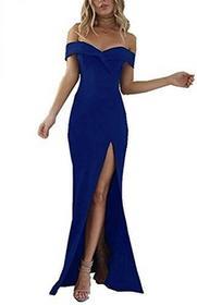 Coco Fashion Sukienka długa damska belki Los Split Off Shoulder długa suknia wieczorowa impreza sukienka, kolor: niebieski , rozmiar: xl B07571YDF5