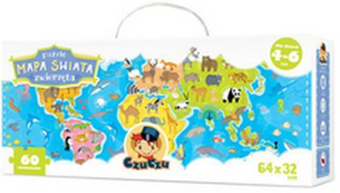 CzuCzu. Puzzle. Mapa świata. Zwierzęta