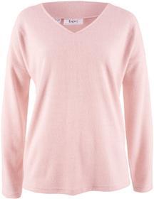 Bonprix Sweter z polaru z dekoltem w serek pastelowy jasnoróżowy melanż