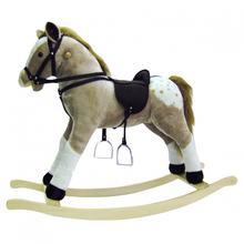Bino Pluszowy Koń na biegunach bezowy