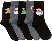 Bonprix Skarpetki bożonarodzeniowe (5 par) czarno-szary z bożonarodzeniowymi motywami