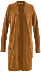 Bonprix Długi sweter dzianinowy bez zapięcia, długi rękaw brązowo-złoty