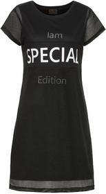 Bonprix Sukienka shirtowa z siatkową wstawką czarno-biały z nadrukiem