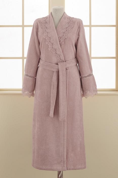 8a6c0ec1ab141d Soft Cotton Damski elegancki szlafrok VICTORIA w ozdobnym opakowaniu S Lila  20504