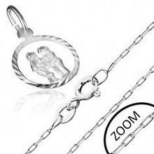 Biżuteria e-shop Srebrny łańcuszek i wisiorek 925 ze znakiem Zodiaku, BLIŹNIĘTA