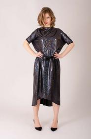 holograficzna sukienka wiązana w pasie