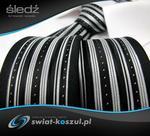 Dunpillo Krawat Męski czarny śledź w białe paski i wzory P514