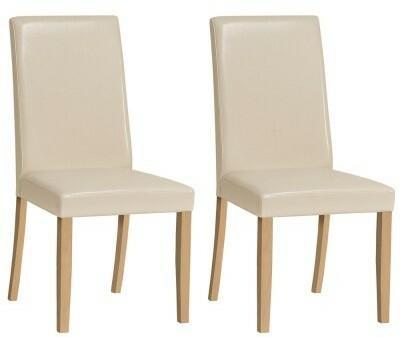 Forte Krzesła Bim ekoskóra komplet 2 szt. beż