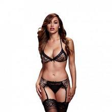 Baci Lingerie Komplet - Leopard & Lace Bra Top & Garter & Panty One Size