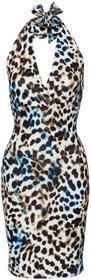 Bonprix Sukienka w cętki leoparda niebieski leo