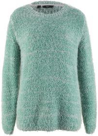 Bonprix Sweter, długi rękaw zielony szałwiowy - matowy srebrny