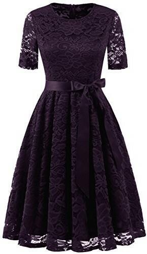 Dresstells dresstells elegancka sukienka koronkowa okrągłe wycięcie pod szyją letnia sukienka czas wolny sukienka koktajlowa impreza sukienka ball, kolor: Grape , rozmiar: xx-large DTC10049Grape 2XL