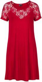 Bonprix Sukienka z koronką ciemnoczerwony