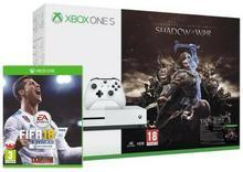 Microsoft Xbox One S 1 TB Biały + Śródziemie Cień Wojny + FIFA 18 + 6M Live Gold