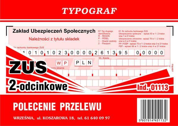 Typograf Druk Polecenie Przelewu Zus 2 Odcinkowy 01113 Ceny Dane