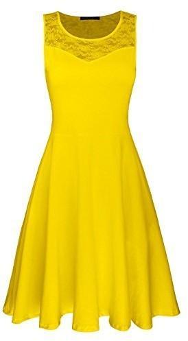 OUGES ouges damska sukienka -  A-linie l żółty B073D1QRYJ