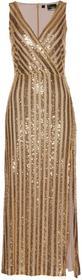 Bonprix Sukienka wieczorowa z cekinami złoty