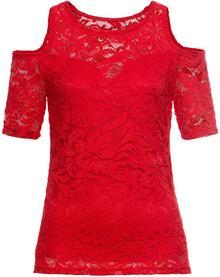 Bonprix Shirt koronkowy z wycięciami na ramionach czerwony