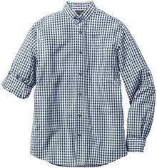 Bonprix Koszula w ludowym stylu Slim Fit ciemnoniebiesko-biały w kratę