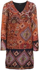 Bonprix Sukienka pomarańczowo-ciemnoniebieski wzorzysty