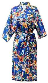 Damskie szlafrok satyna Kimono płaszcz kąpielowy Lang robe by Nora twips -  s niebieski