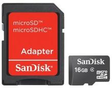 SanDisk Micro SDHC 16GB + adapter SD