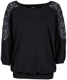 Bonprix Shirt oversize z koronką czarny