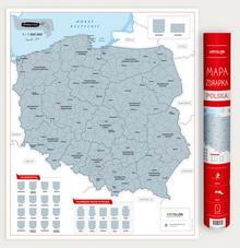 Polska mapa zdrapka 1:1 500 000 / wysyłka w 24h