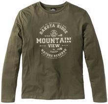 Bonprix Shirt z długim rękawem i nadrukiem Regular Fit ciemnooliwkowy