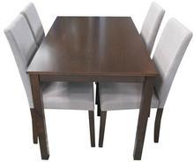 Lectus Zestaw stołowy Sorento stół + 4 krzesła ciemny brąz/ beż KS-SET-002