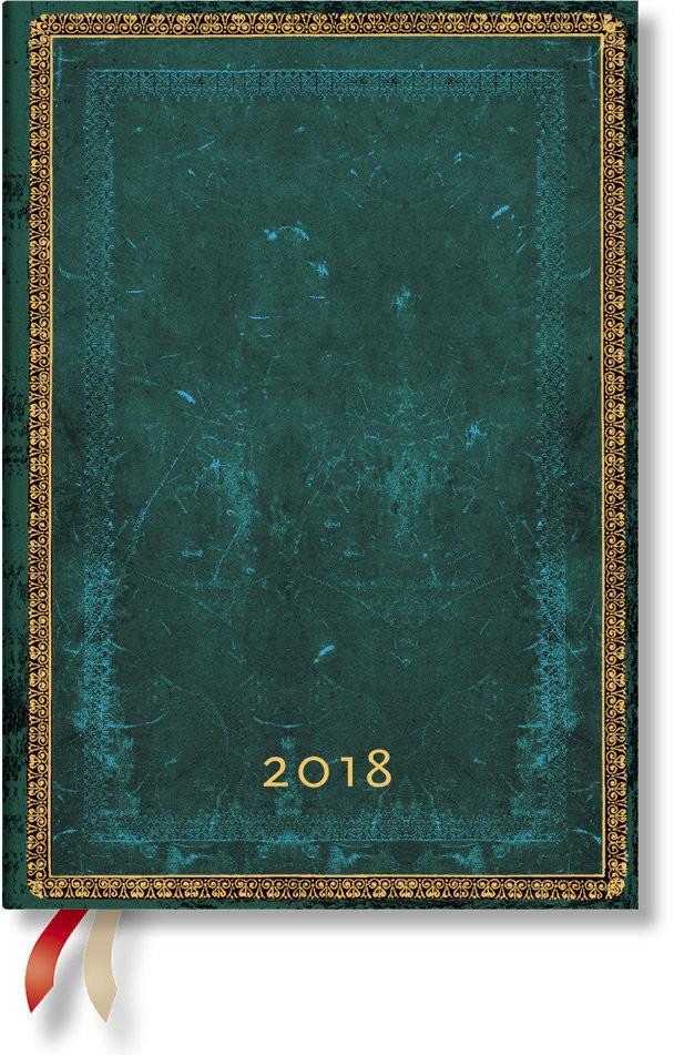 Paperblanks Hartley&Marks Publishers Ltd kalendarz książkowy 2018, Viridian Midi