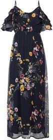 Bonprix Długa sukienka z odsłoniętymi ramionami, w kwiatowy deseń ciemnoniebieski z nadrukiem