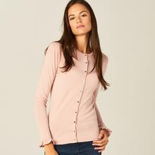 MOHITO Dopasowany sweter z zapięciem na guziki - Różowy