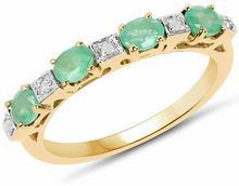 Pozłacany 14 ct żółtym złotem pierścionek z naturalnymi szmaragdami i diamentami 0,59 ct 3433-uniw