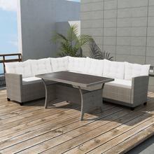 vidaXL Meble ogrodowe: sofa narożna i stół, 12 części, polirattan