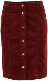 Bonprix Spódniczka sztruksowa ze stretchem i plisą guzikową czerwony kasztanowy