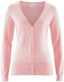 Bonprix Sweter rozpinany pastelowy jasnoróżowy