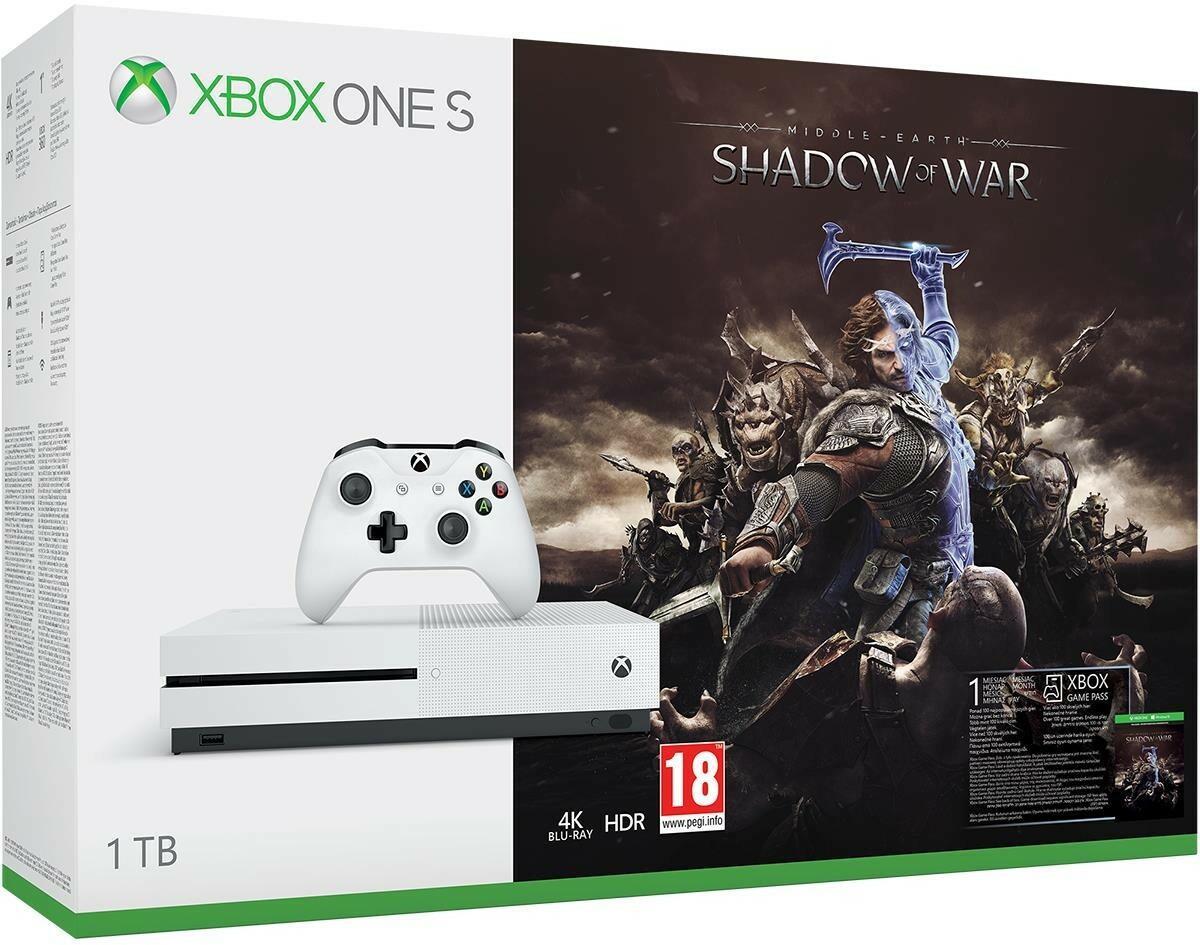 Microsoft Xbox One S 1 TB Biały + Shadow of War