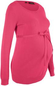 Bonprix Sweter ciążowy z 100% bawełny, z wiązanym paskiem czerwień granatu