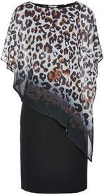 Bonprix Sukienka w cętki leoparda ciemnobrązowo-złocisty z nadrukiem