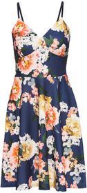Bonprix Sukienka z dżerseju w kwiaty, na cienkich ramiączkach niebieski w kwiaty