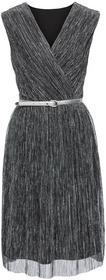 Bonprix Sukienka z lureksową nitką i efektem założenia kopertowego czarno-srebrny