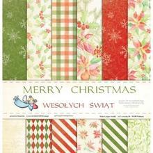 Papier Wesołych Świąt 30,5x30,5 cm - zestaw